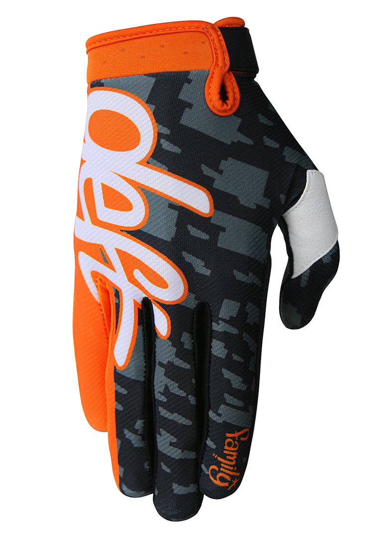 deft family motocross mtb bmx glove eqvlnt camo orange front