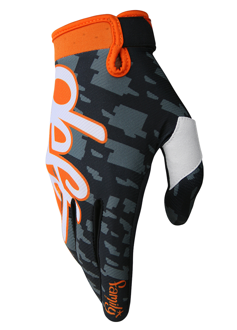 deft family motocross mtb bmx glove eqvlnt camo orange side
