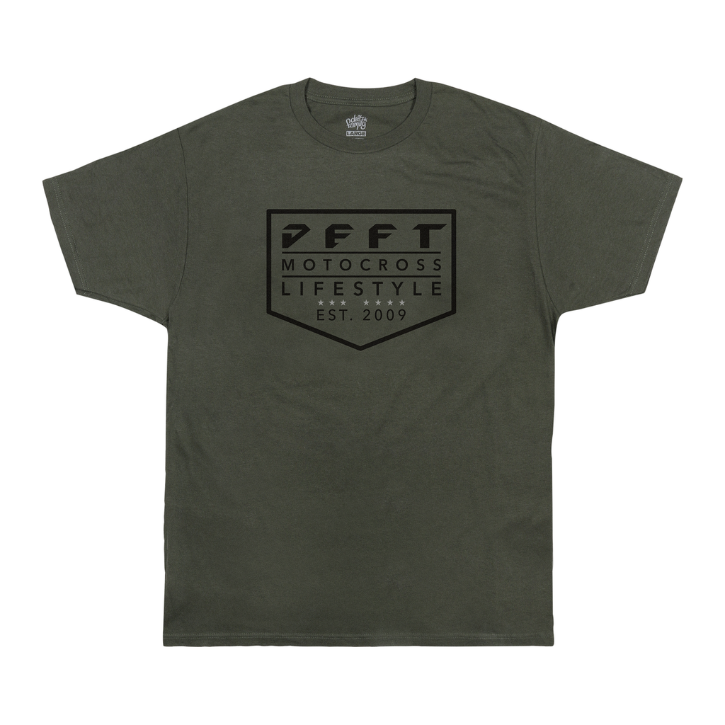 deft family motocross mtb bmx t-shirt lifestyle surplus green front