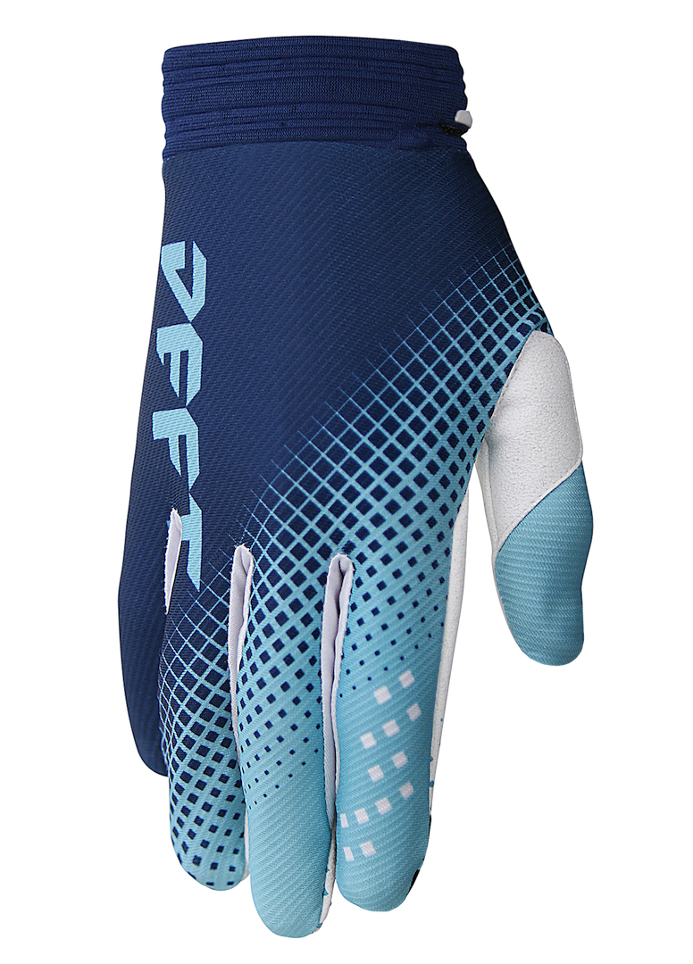 deft family motocross mtb bmx glove catalyst checker blue front