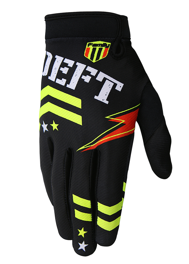deft family motocross mtb bmx glove eqvlnt badge black front