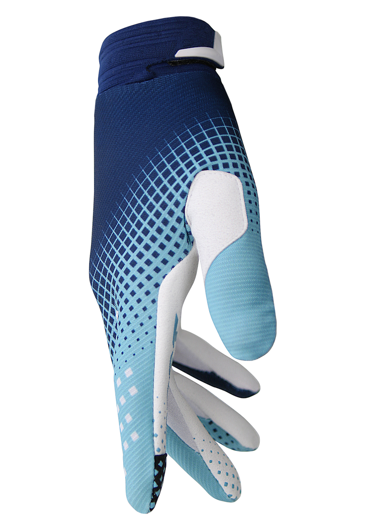deft family motocross mtb bmx glove catalyst checker blue side