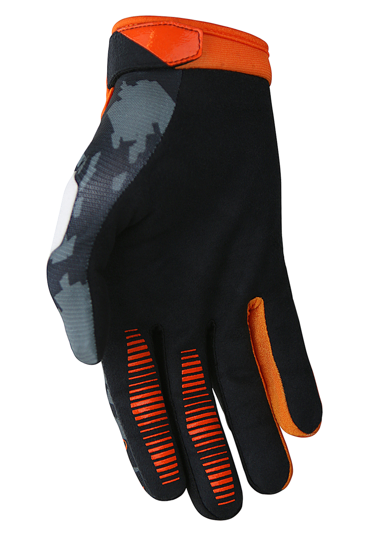 deft family motocross mtb bmx glove eqvlnt camo orange back