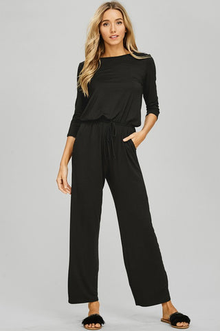 Black 3/4 Sleeve Jumpsuit