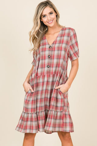 Plaid Coral Dress
