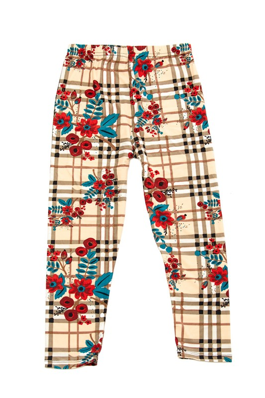 Plaid Flower Leggings