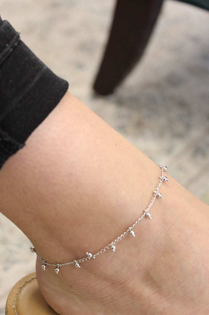 Silver Ball Anklet