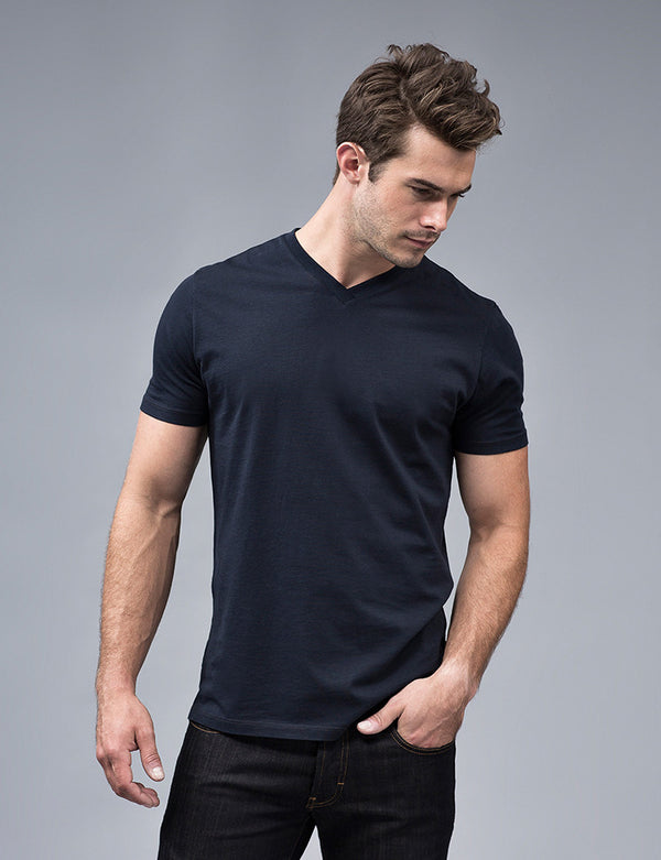 Navy Blue V-neck t Shirt
