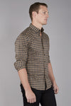Brown-Grey-Black Plaid Shirt