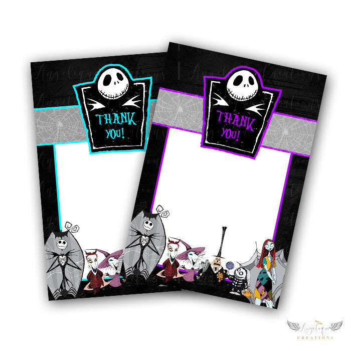 Purple nightmare before christmas baby shower invitations blank purple nightmare before christmas baby shower invitations blank digital thank you card to match filmwisefo