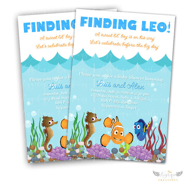 Finding Nemo Baby Shower Invitations Blank Digital Thank You Card To Match