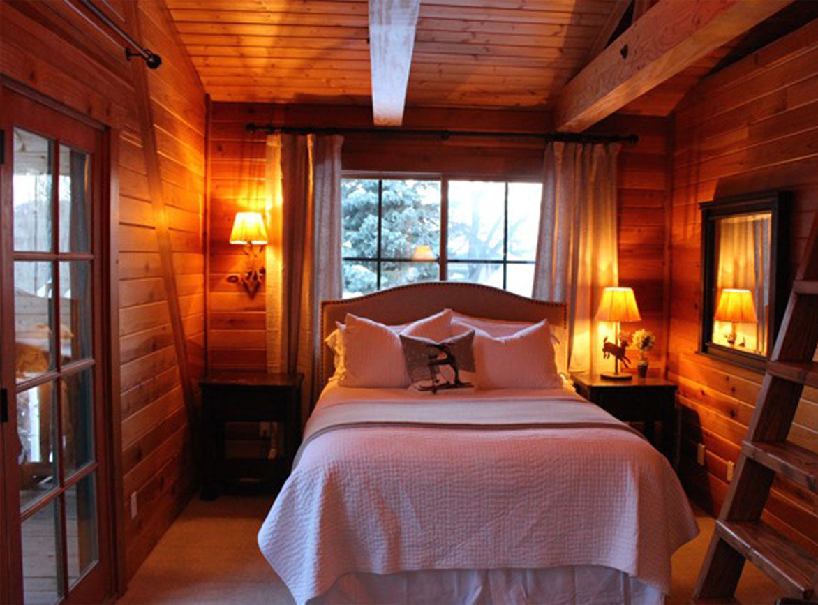 One of the bedrooms at the Chalet Resort in Sundance
