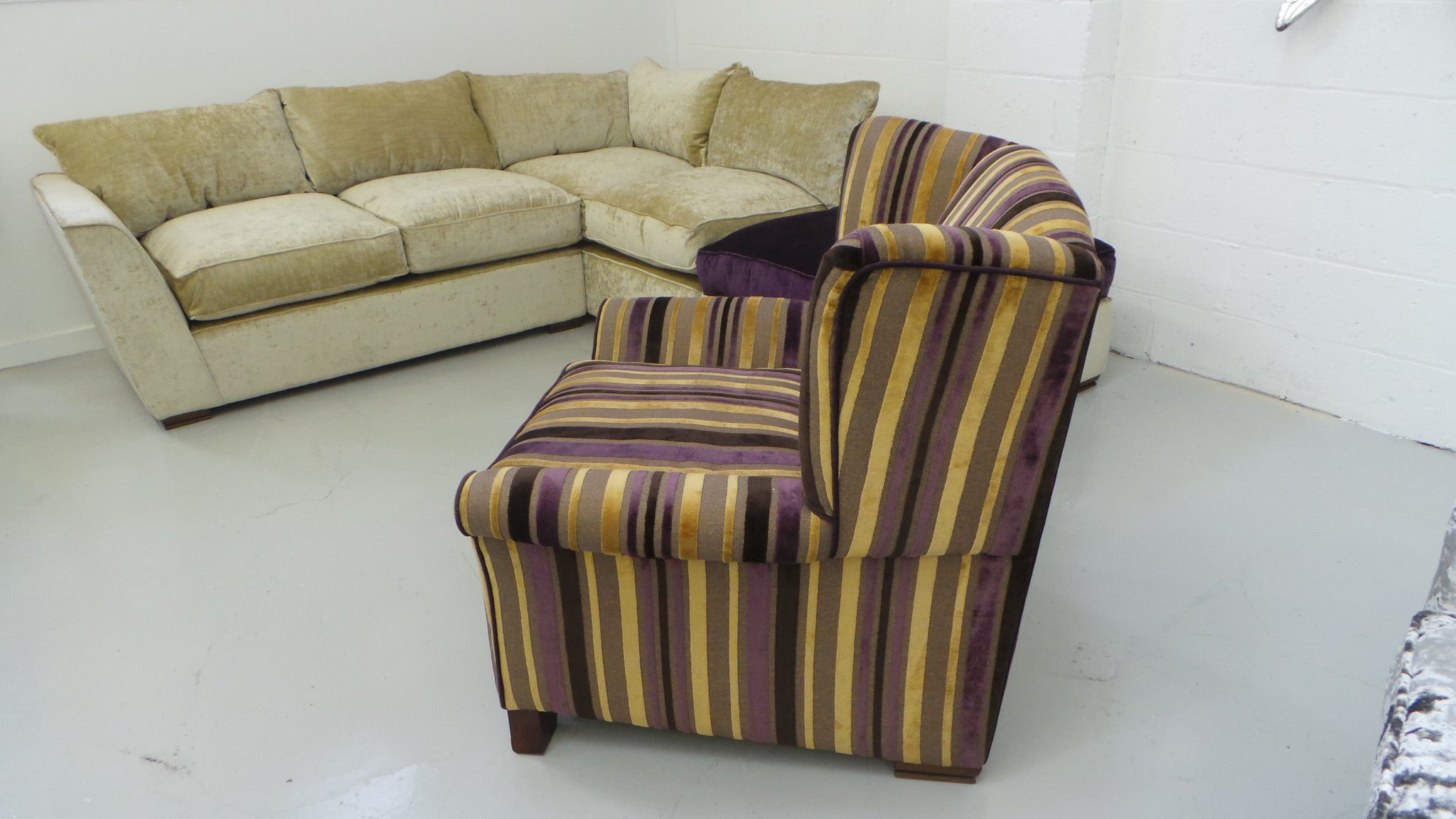 CHAIR Plush Wingback Armchair in Striped Gold & Purple