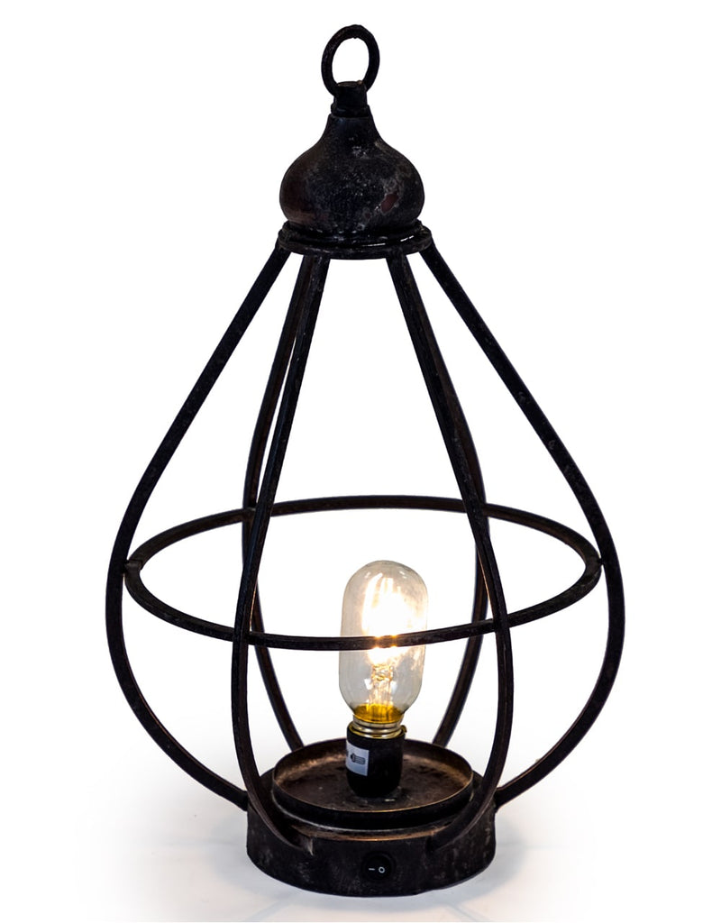 Large Antiqued Iron Cage LED Lantern (USB Rechargeable)
