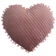 KIDS HEART POM POM CUSHION - BLUSH 34 X 40CM