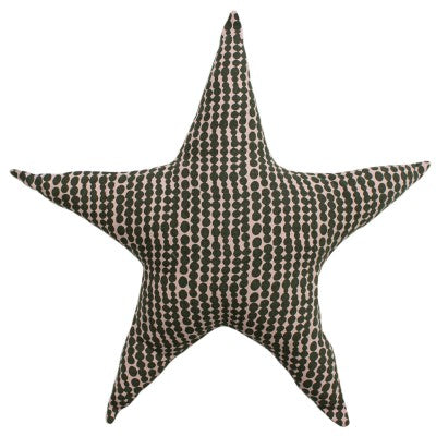 KIDS PRINTED STAR CUSHION - PINK/MUSTARD 40 X 40CM
