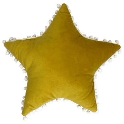 KIDS STAR POM POM CUSHION - YELLOW/WHITE 40 X 40CM