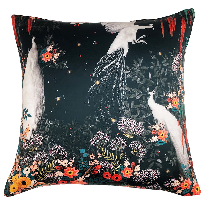 WHITE PEACOCK CUSHION - BLACK 50 X 50CM
