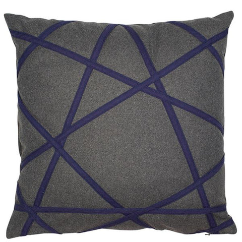 D - AKHIL CUSHION - GREY & NAVY 45 X 45CM