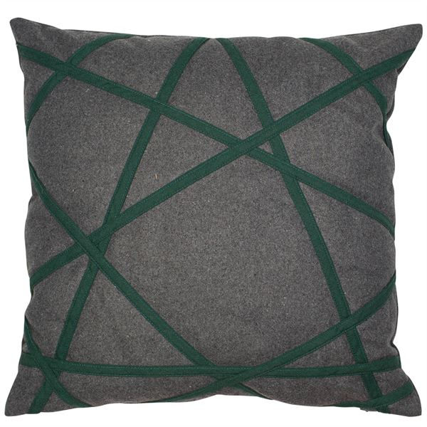 PAIR OF AKHIL CUSHIONS - GREY & GREEN 45 X 45CM