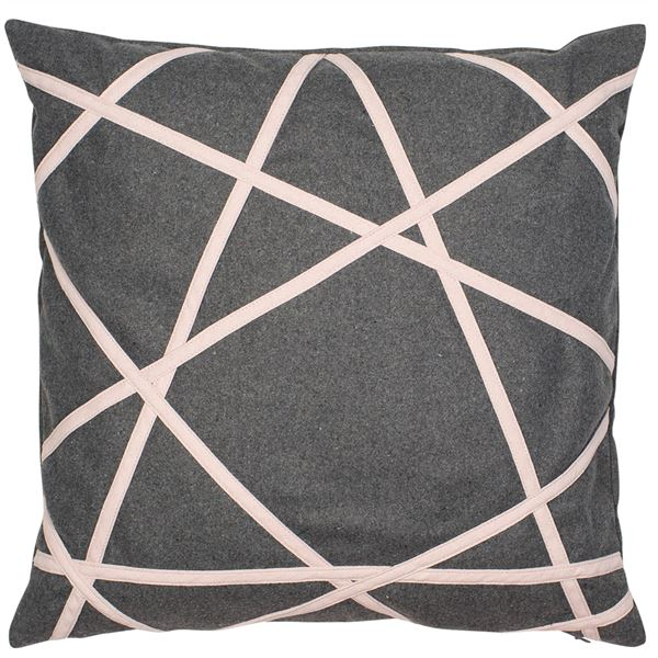 PAIR OF AKHIL CUSHIONS - GREY & PINK 45 X 45CM