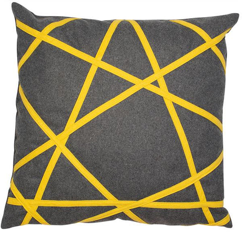 D - AKHIL CUSHION - GREY & YELLOW 45 X 45CM
