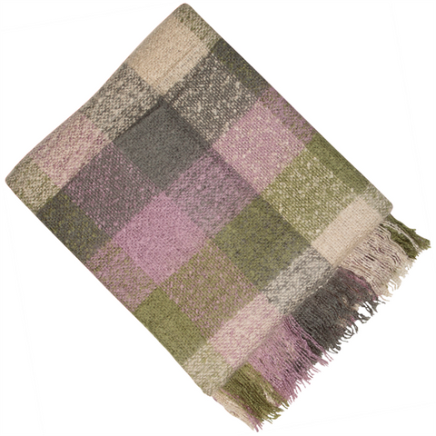 E - THROW - BALMORAL KNIT 150 X 180CM PURPLE GREEN