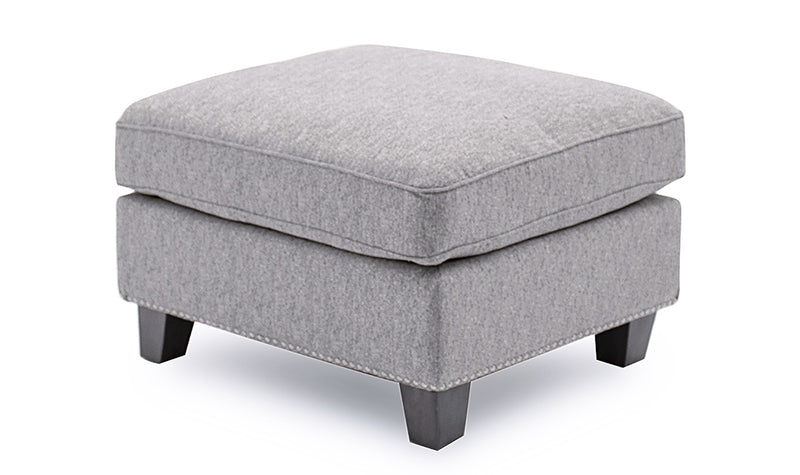 Imogen ottoman footstool in grey fabric