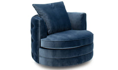 Jools blue 2 seater cushion back curved sofa in velvet fabric