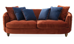 Jools copper 3 seater cushion back curved sofa in velvet fabric