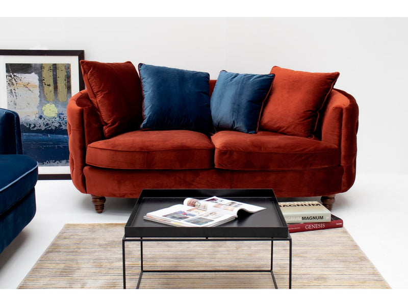 Jools copper 2 seater cushion back curved sofa in velvet fabric