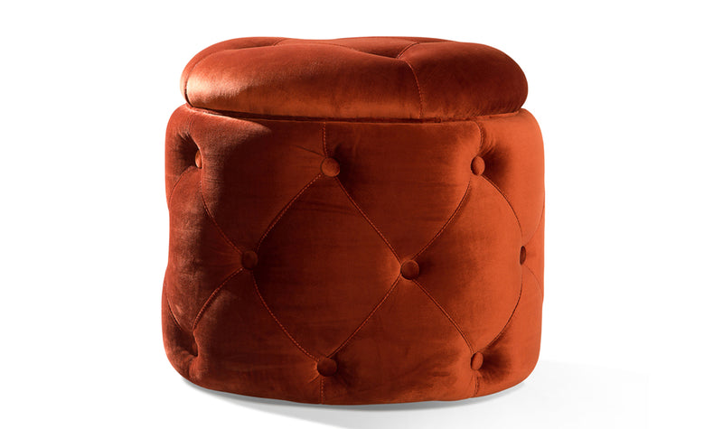 Jools copper tub style footstool in velvet fabric