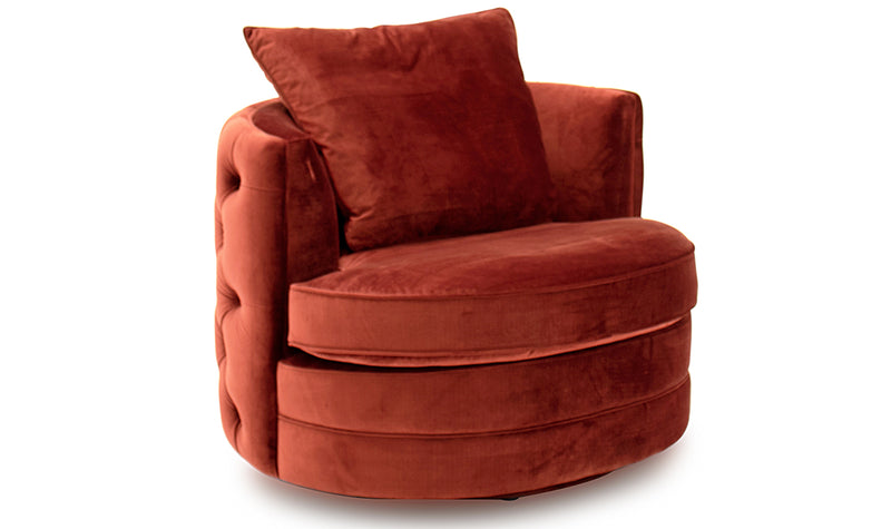 Jools copper cushion back curved swivel chair in velvet fabric