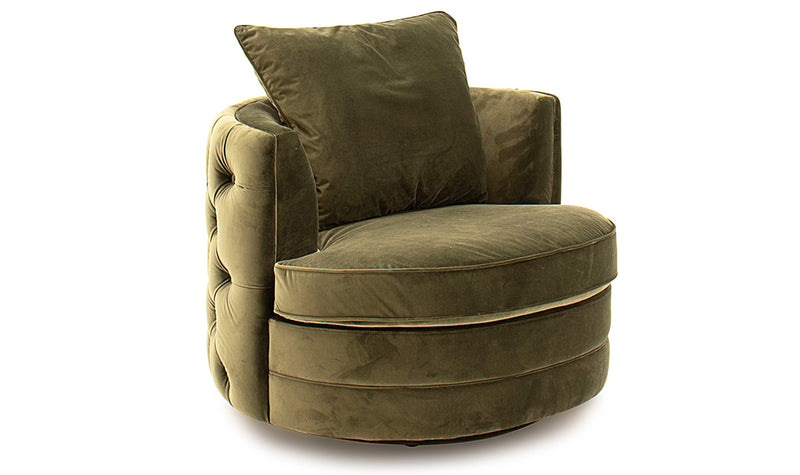Jools olive cushion back curved swivel chair in velvet fabric
