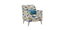Bennet High Back Accent Chair in Butterfly Print Fabric