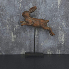 Leaping Rabbit on Stand Large Brown 30cm