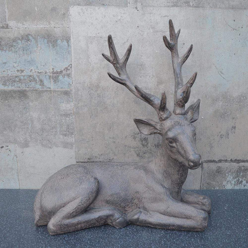 Sitting Stag Ornament Brown 34.5cm