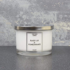 Simple Large Wax Filled Pot 2 Wick Candle Black Lily and Pomegranate Scent 260g