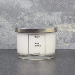 Simple Large Wax Filled Pot 2 Wick Candle Pink Pepper Scent 260g