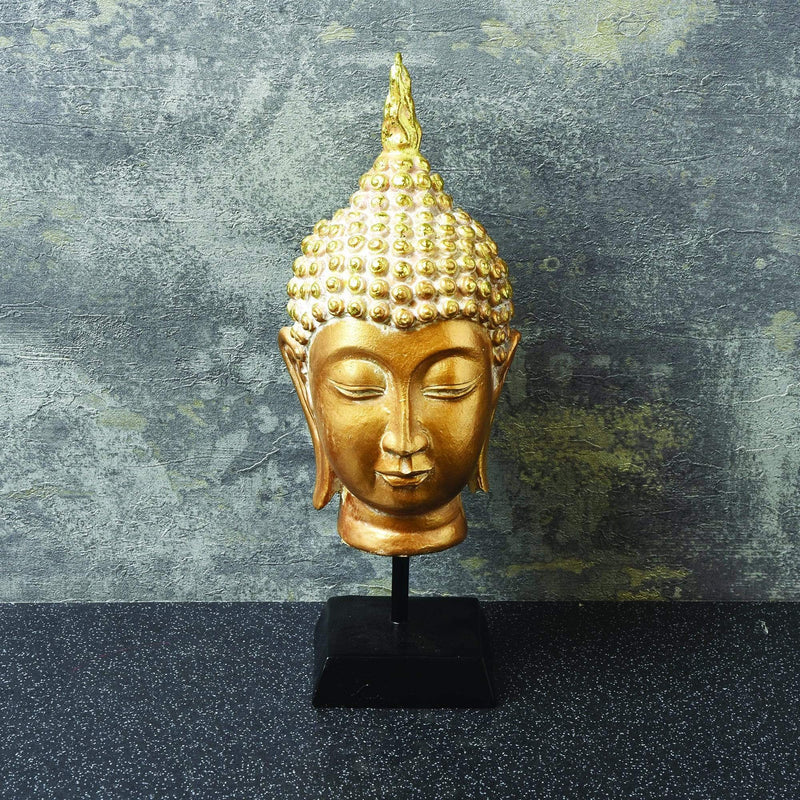 Buddha Head Ornament on Stand Gold 24cm
