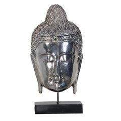 Large Silver Buddha Head on Stand 62cm
