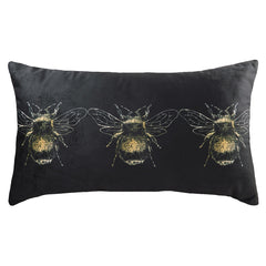 GOLD BEE CUSHION - BLACK 30 X 50CM
