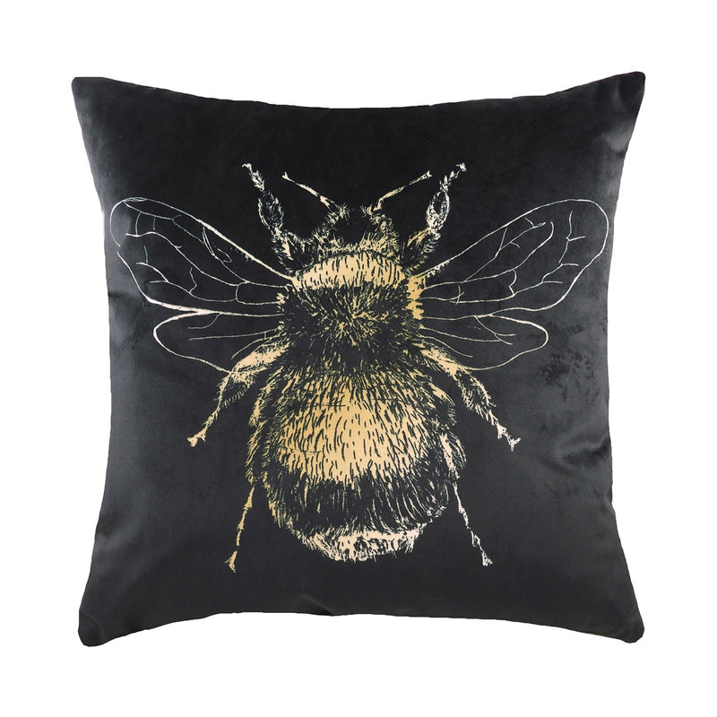 GOLD BEE CUSHION - BLACK 43 X 43CM