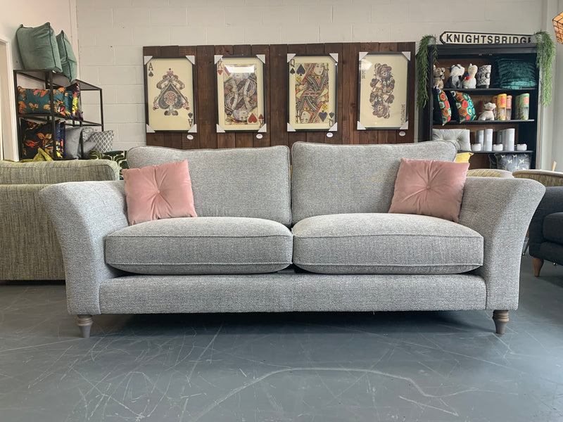 Elixir large 3 seater standard back sofa in silver metallic mix weave fabric RRP £1399