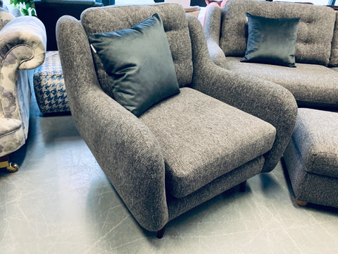 B - Large Grey Weave Fabric large armchair RRP £599