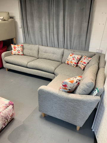 Neve large right facing standard back corner sofa in grey weave fabric RRP £1799