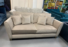 Canterbury 3 standard back sofa in mink velvet fabric with 4 matching cushions