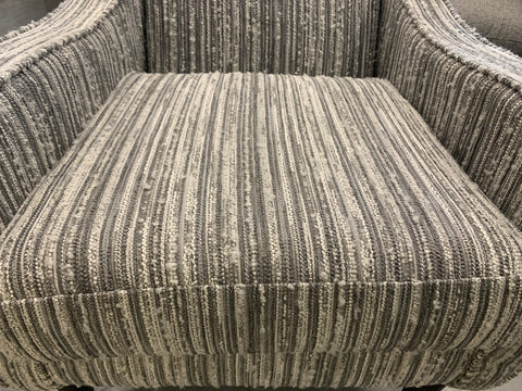 Nautical low arm accent chair in light grey striped boucle fabric RRP £659