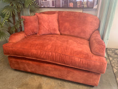 Appledoe by Willow & Hall large loveseat sofa bed in peach vintage velvet fabric RRP £1450