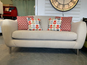 Chelsea medium 2 seater sofa in cream natural linen fabric